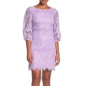 Eliza J Balloon Lilac Sleeve Lace Shift Dress